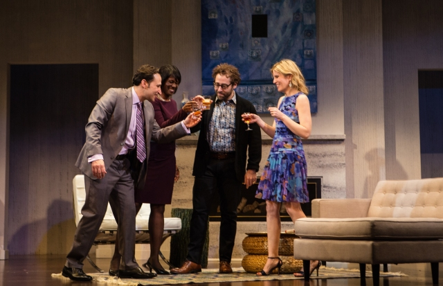 Raoul Bhaneja, Karen Glave MIchael Rubenfeld, Birgitte Solem, in Hope and Hell Theatre's production of Disgraced, at the Citadel. Photo by Cylla Von Tiedemann